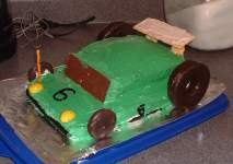 Race car cake, front view
