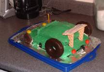 Race car cake, back view