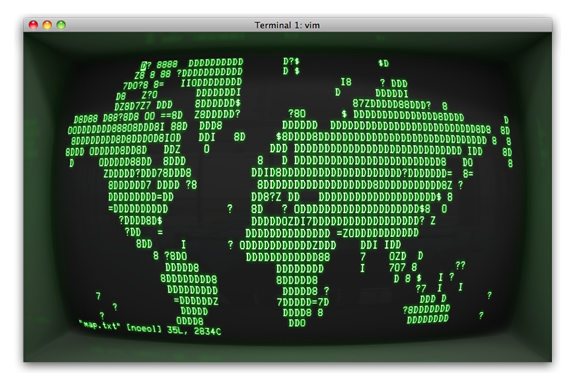 Cathode, emulating a curved-screen terminal