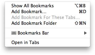 Safari bookmark menu showing key modifiers