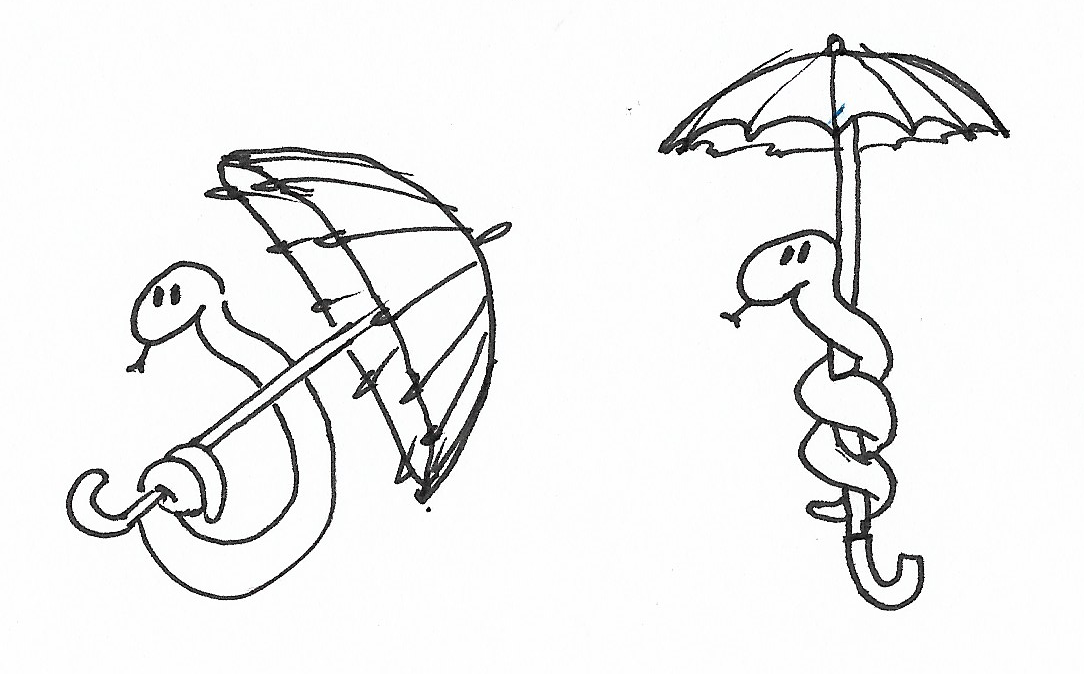Two different ideas for snakes holding umbrellas