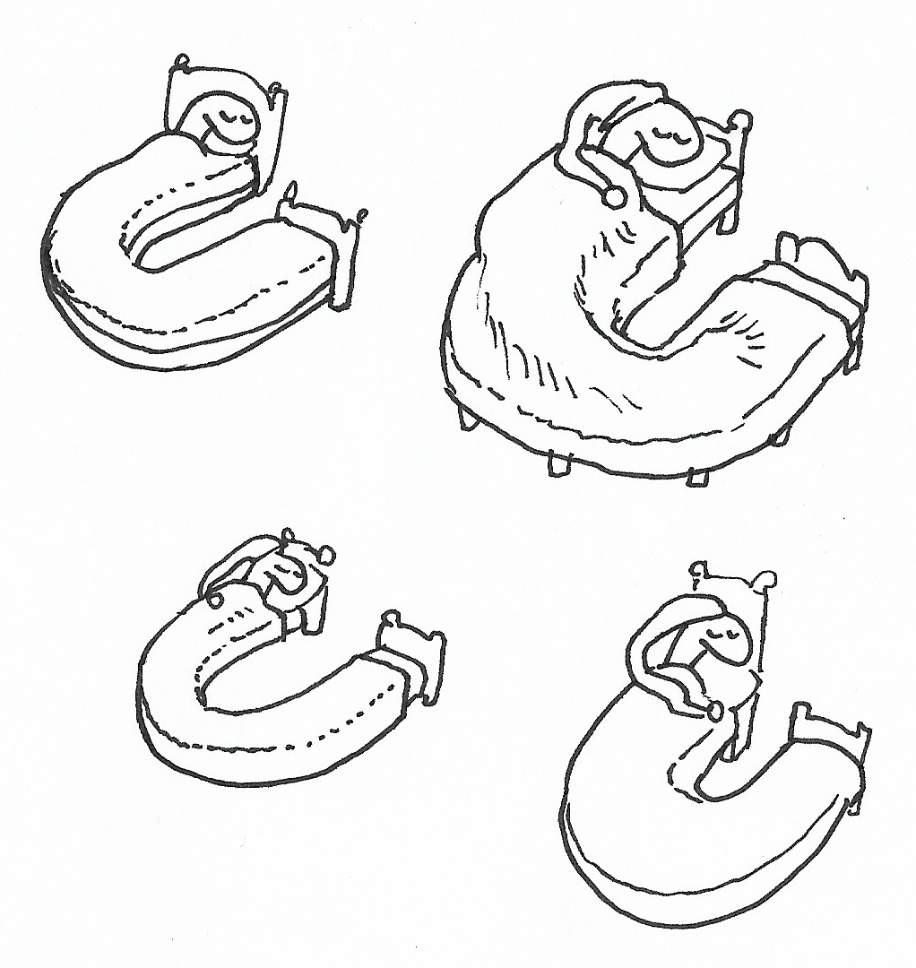 Four more quick sketches of snake in a bed