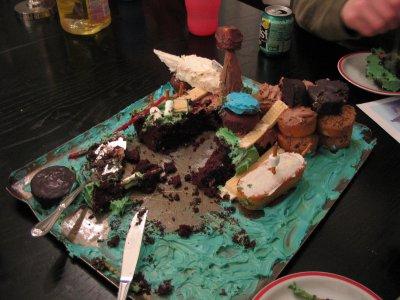 Myst cake, half eaten