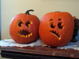 Mad pumpkin and in-trouble pumpkin