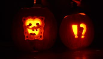 Two Halloween pumpkins