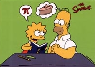 Homer and Lisa discussing pi (or pie)