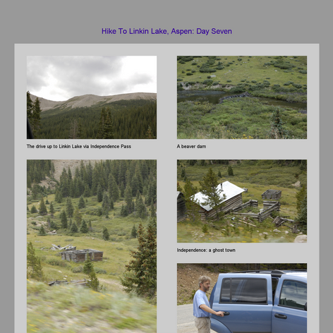 Tabblo: Hike To Linkin Lake, Aspen:  Day Seven