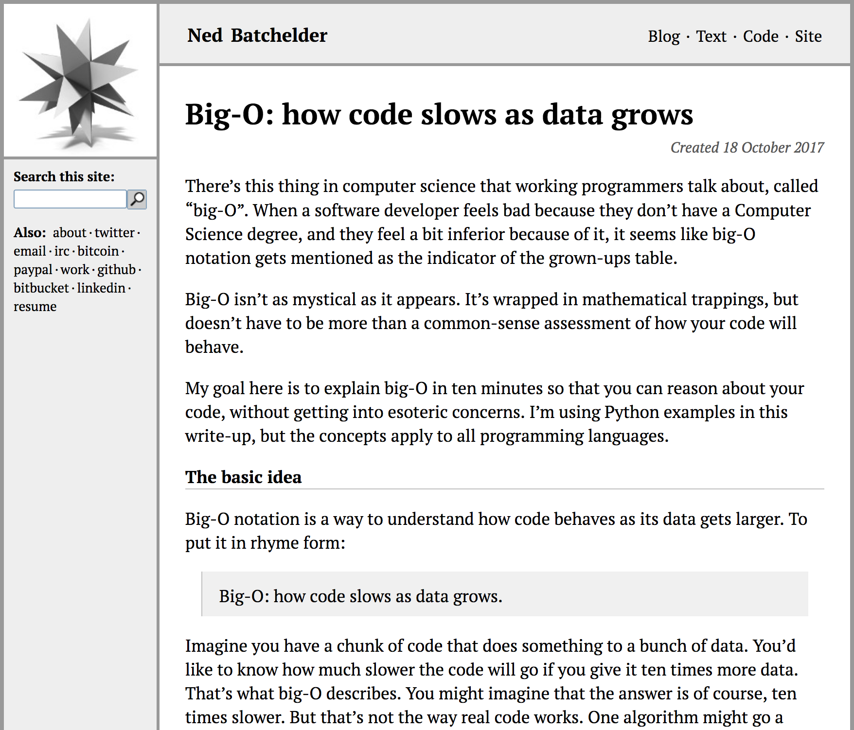 Big-O: How Code Slows as Data Grows