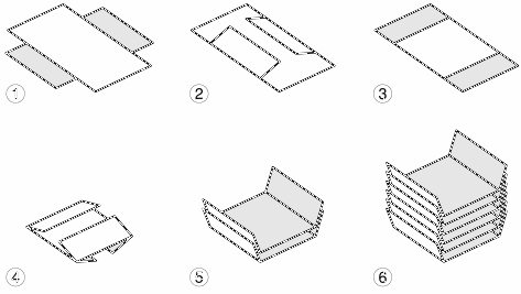 six steps of folding card pieces