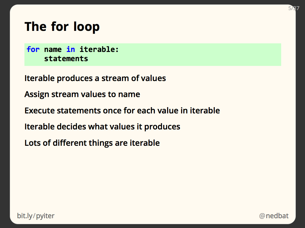 The for loop