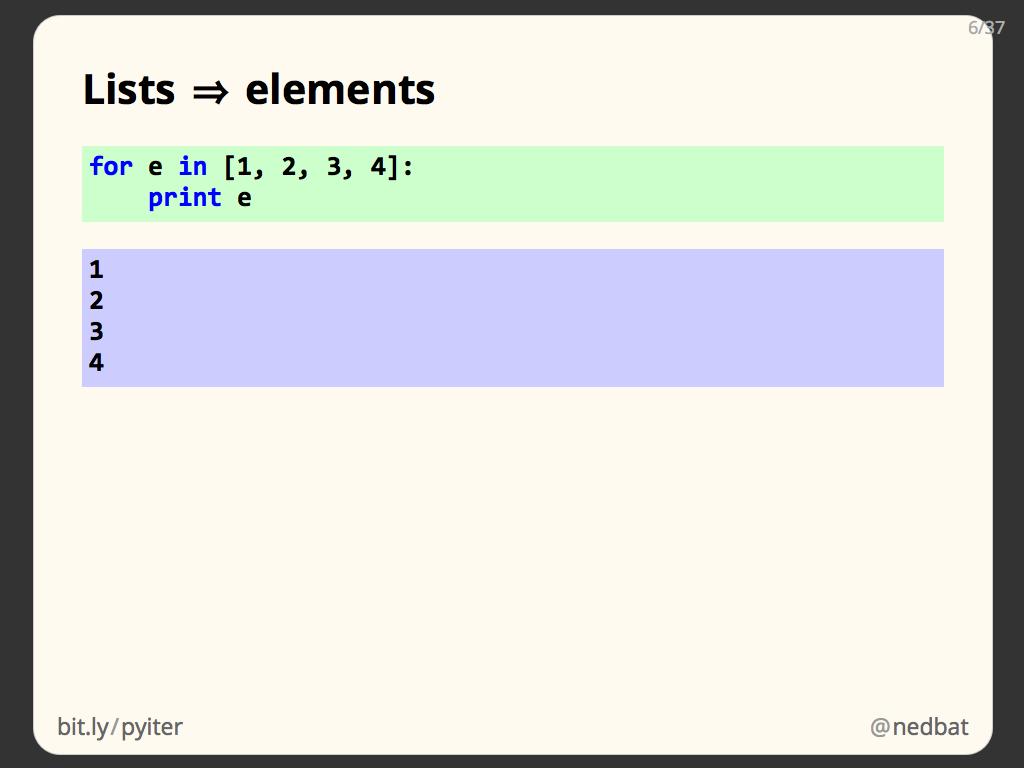 Lists ⇒ elements