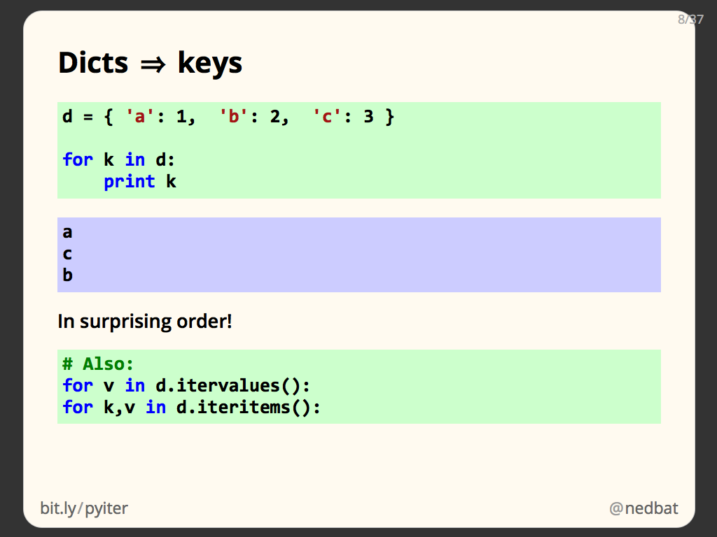 Dicts ⇒ keys