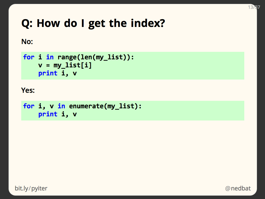Q: How do I get the index?