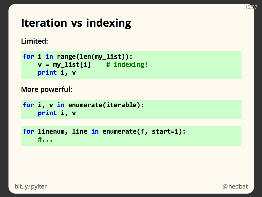 Iteration vs indexing