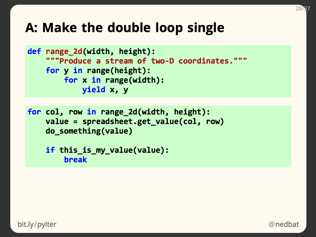 A: Make the double loop single