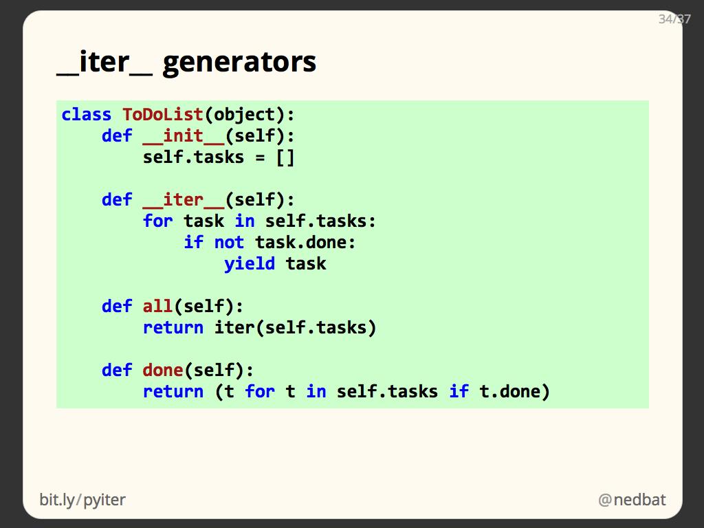 __iter__ generators