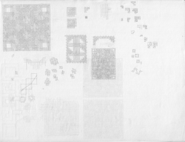 A sheet of my graph paper, crowded with drawings
