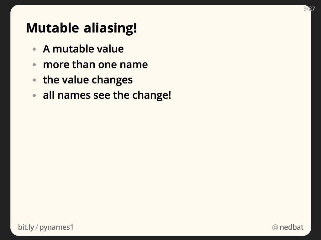 Mutable aliasing!