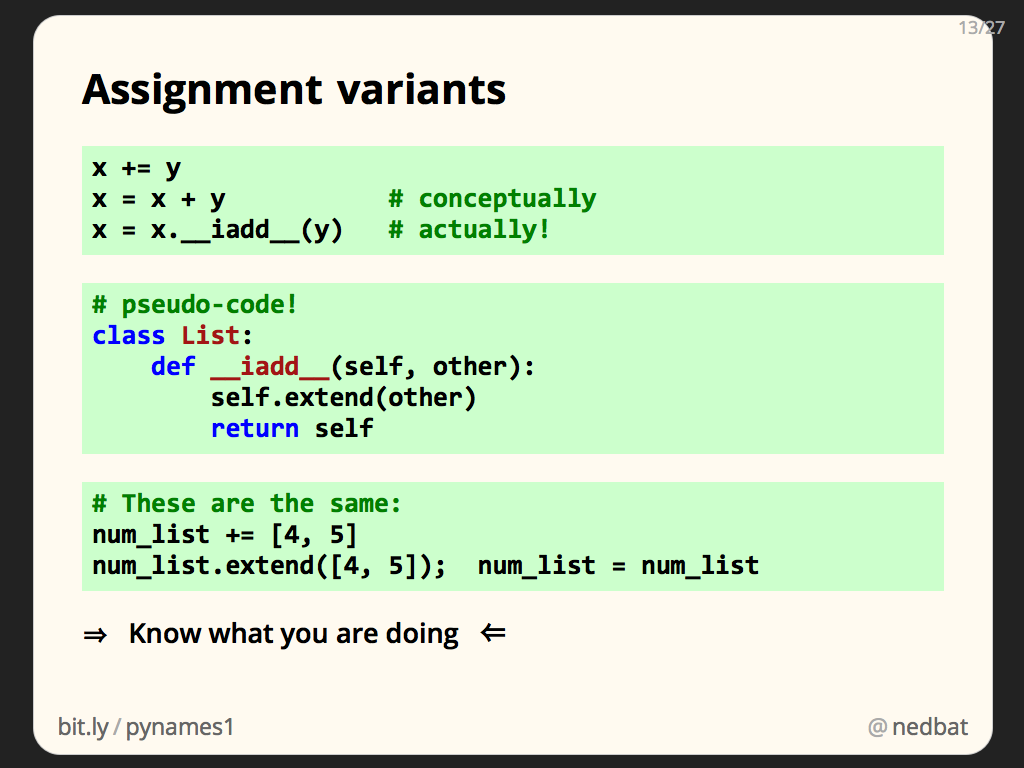 Assignment variants