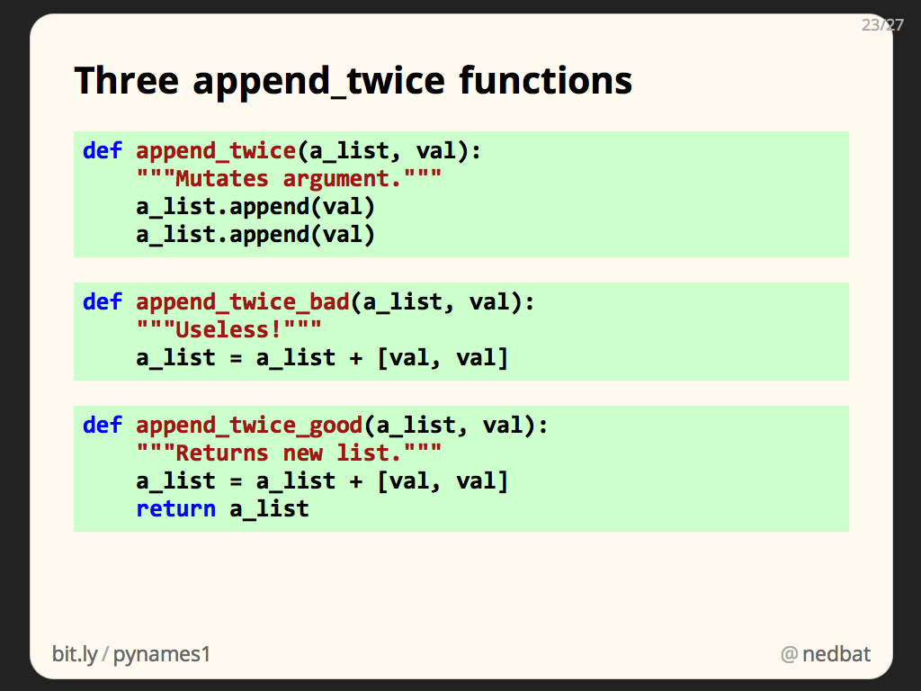 Three append_twice functions