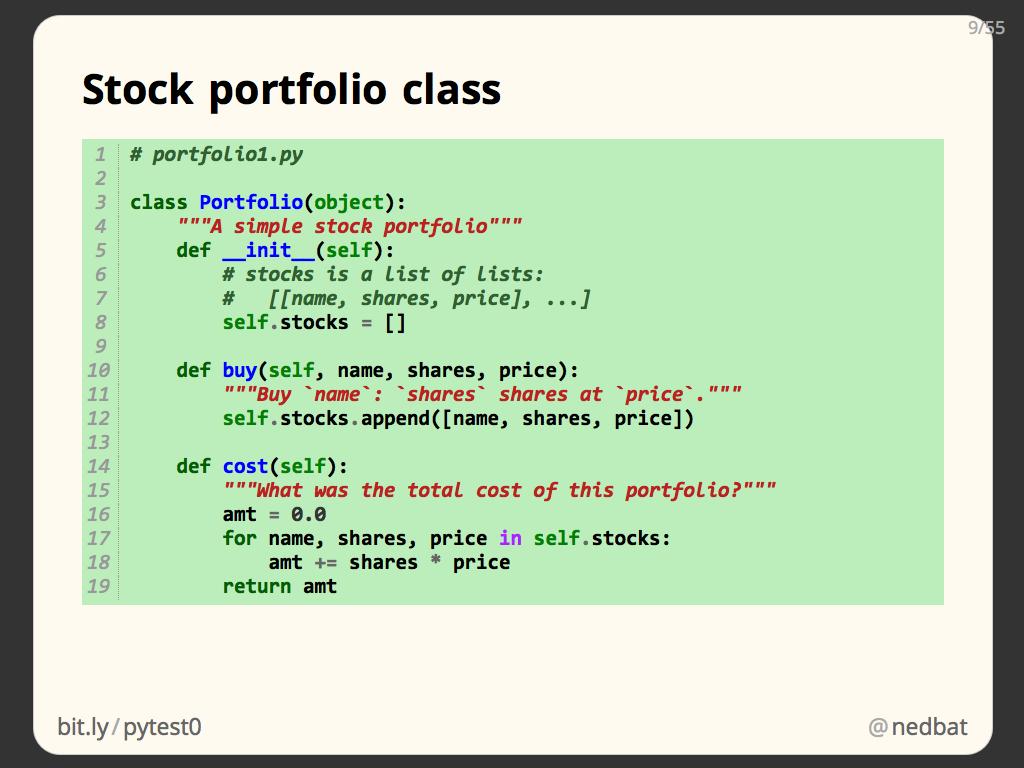 Stock portfolio class