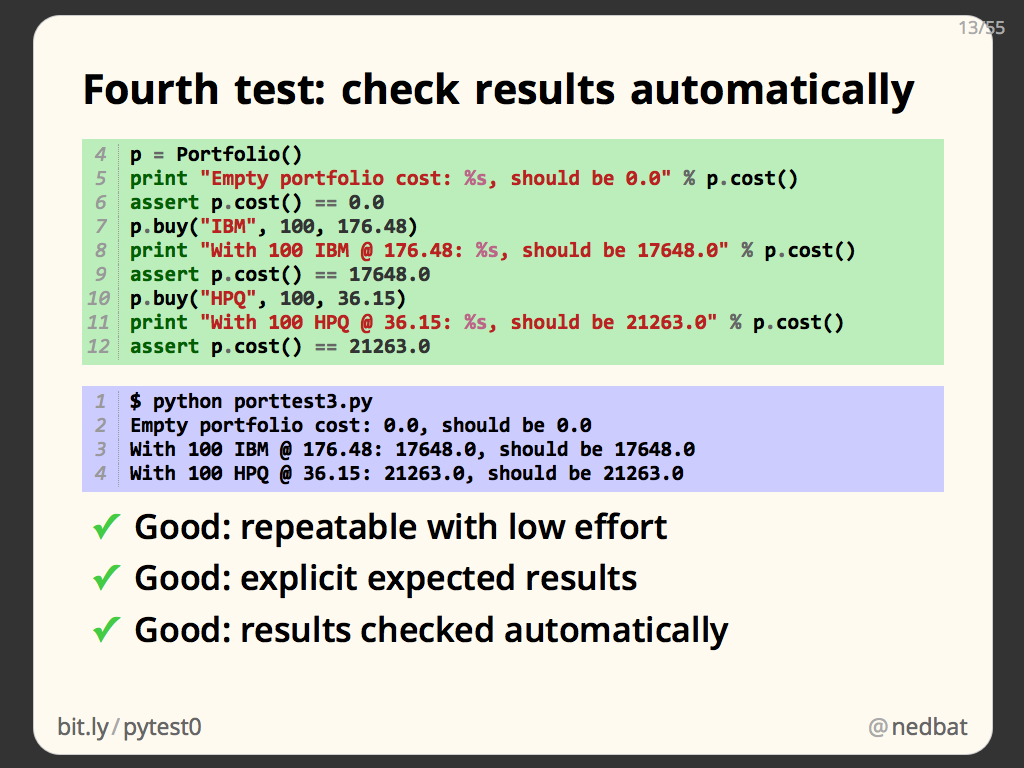 Fourth test: check results automatically