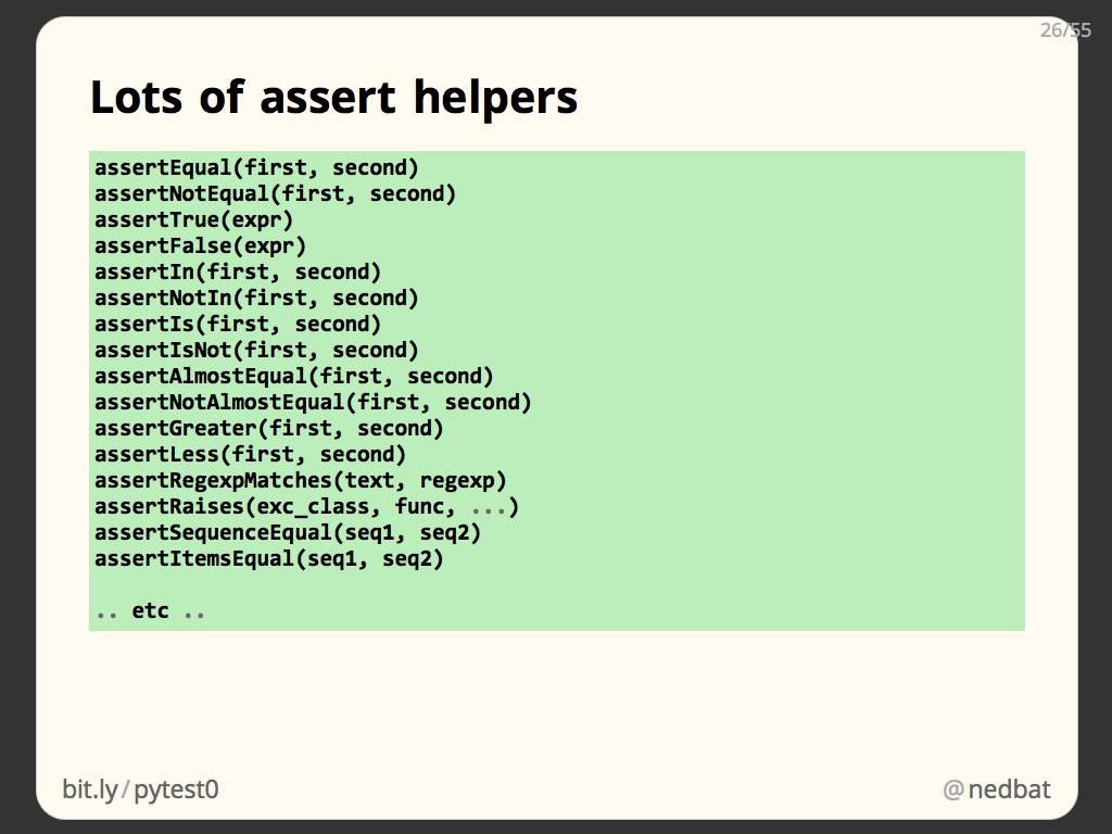Lots of assert helpers