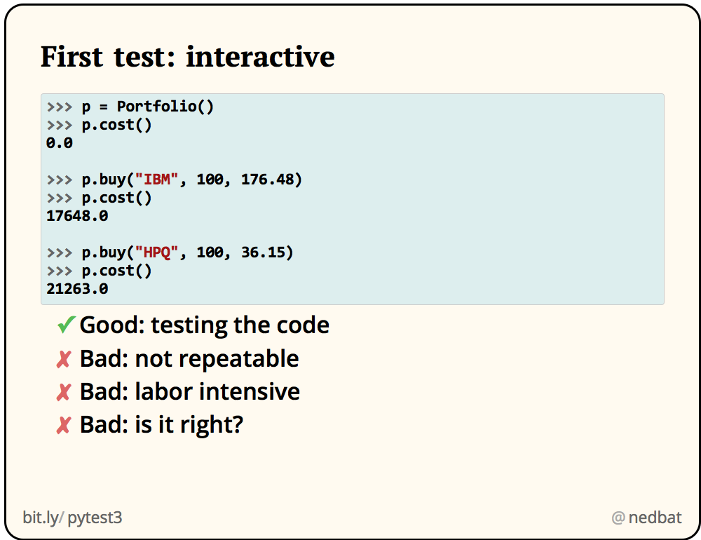 First test: interactive
