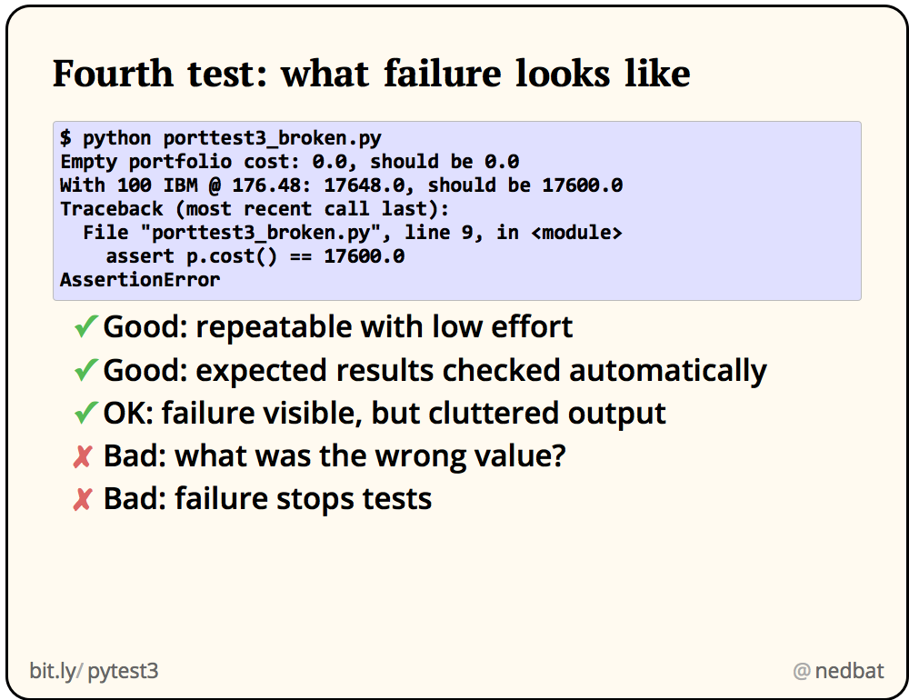 Fourth test: what failure looks like