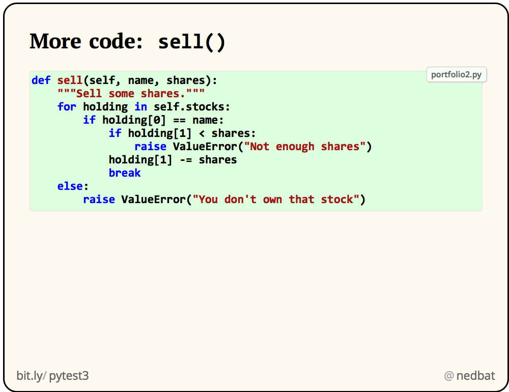 More code:  sell()