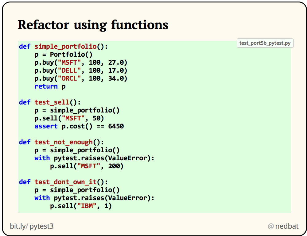 Refactor using functions