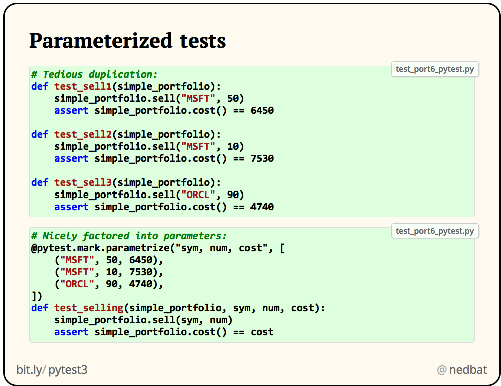 Parameterized tests
