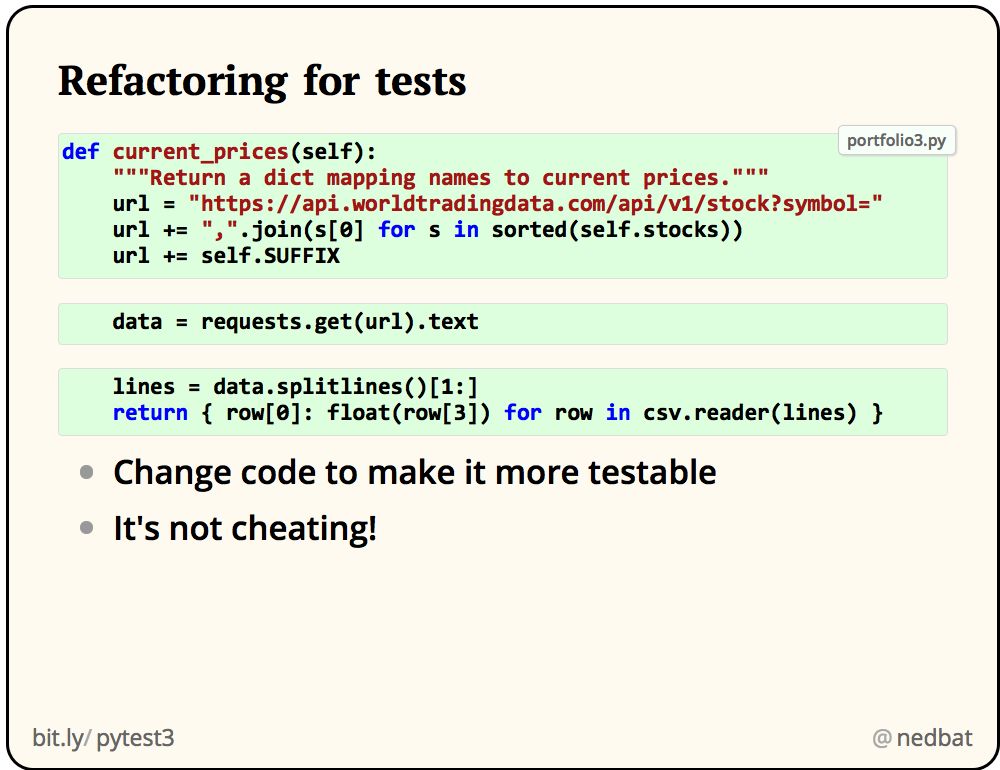 Refactoring for tests
